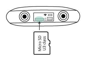 Insert microSD card to the camera